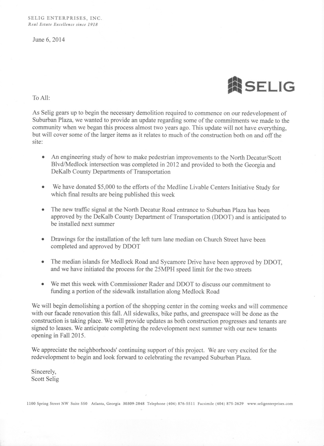 Scott Selig Update on MOU, Schedule 6-6-2014