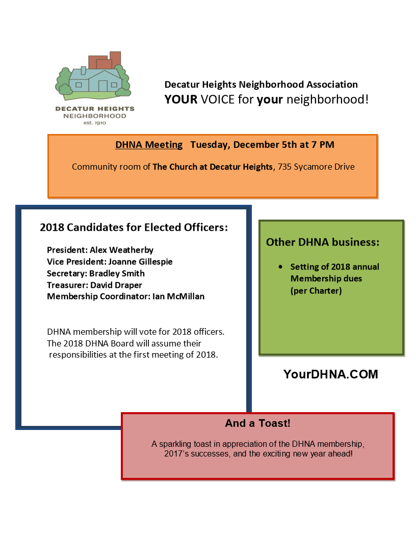 DHNA Meeting Dec. 5, 2017